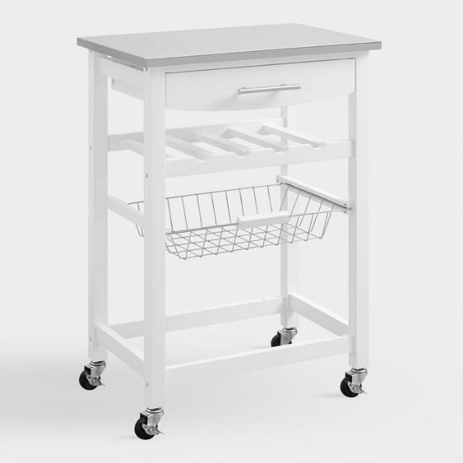 White Wood and Stainless Steel Grover Kitchen Cart