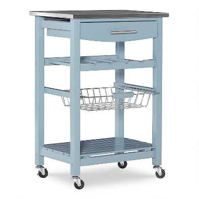 Wood And Stainless Steel Grover Kitchen Cart