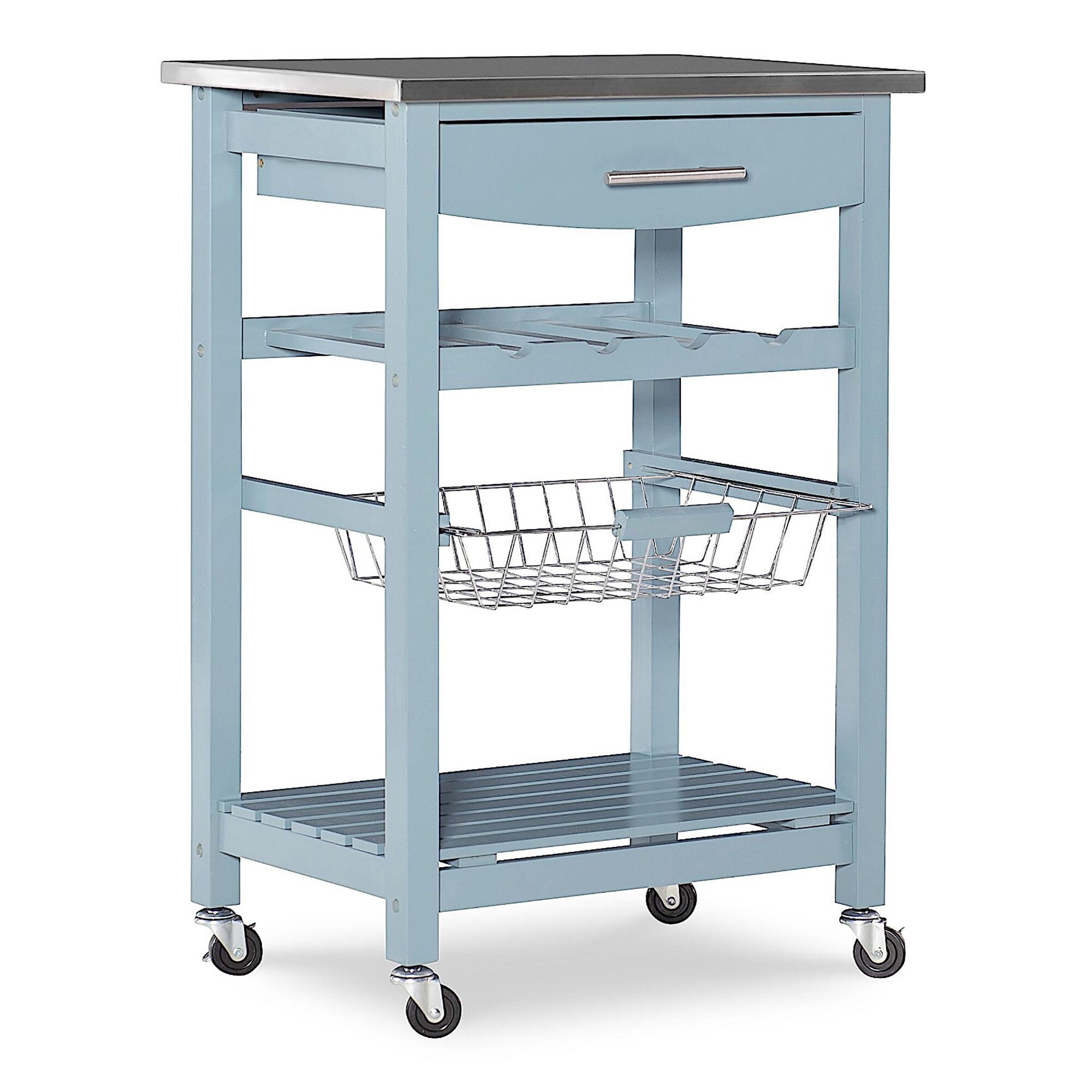 Blue Wood and Stainless Steel Grover Kitchen Cart by World Market