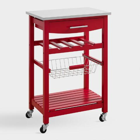 Red Wood and Stainless Steel Grover Kitchen Island