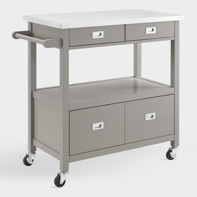 Gray Wood and Stainless Steel Adelaide Kitchen Cart