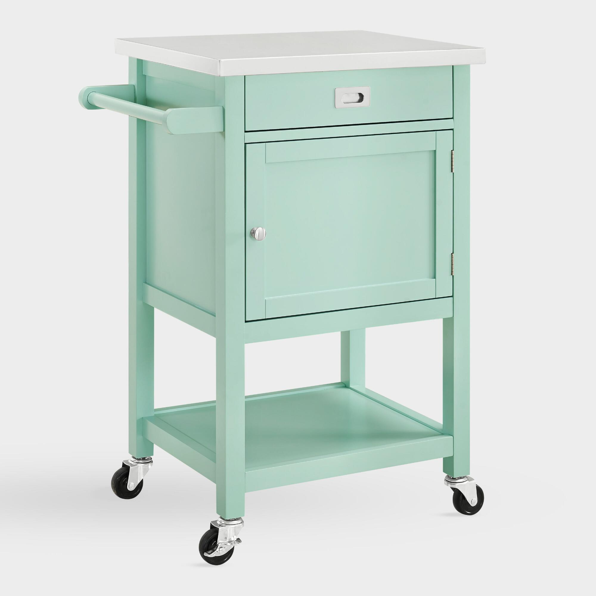 Mint Green Wood and Stainless Steel Perth Kitchen Cart by World Market