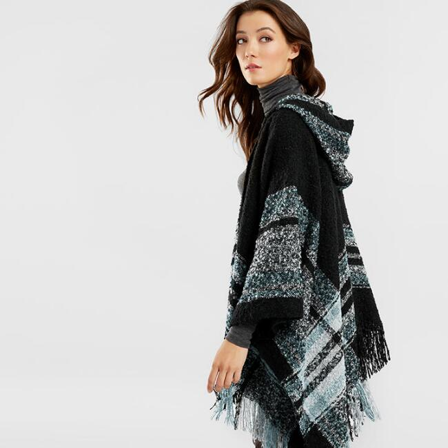 White, Blue and Black Plaid Boucle Hooded Wrap