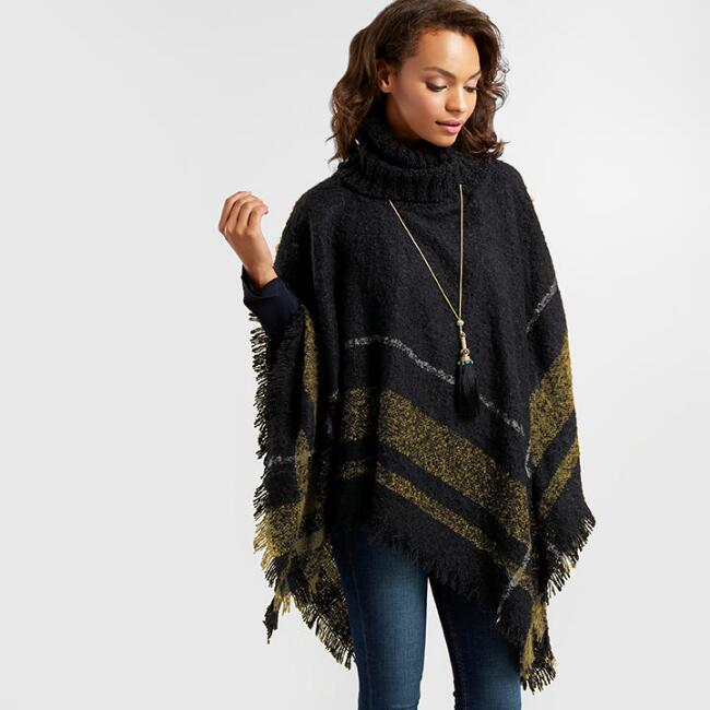 Black, White and Mustard Plaid Turtleneck Boucle Poncho