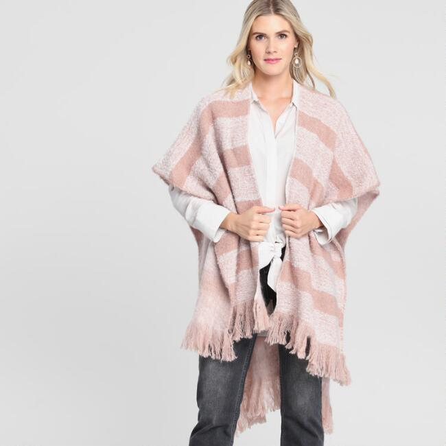 Blush Pink Striped Reversible Wrap