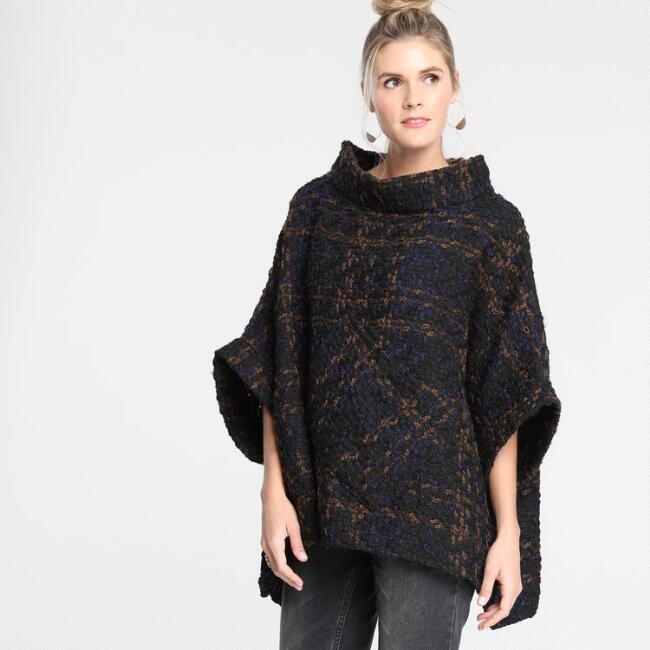 Black and Navy Funnel Neck Cecil Poncho with Pocket