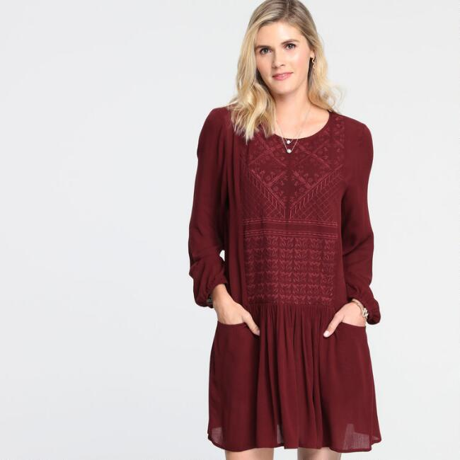 Wine Red Embroidered Edna Swing Dress with Pockets