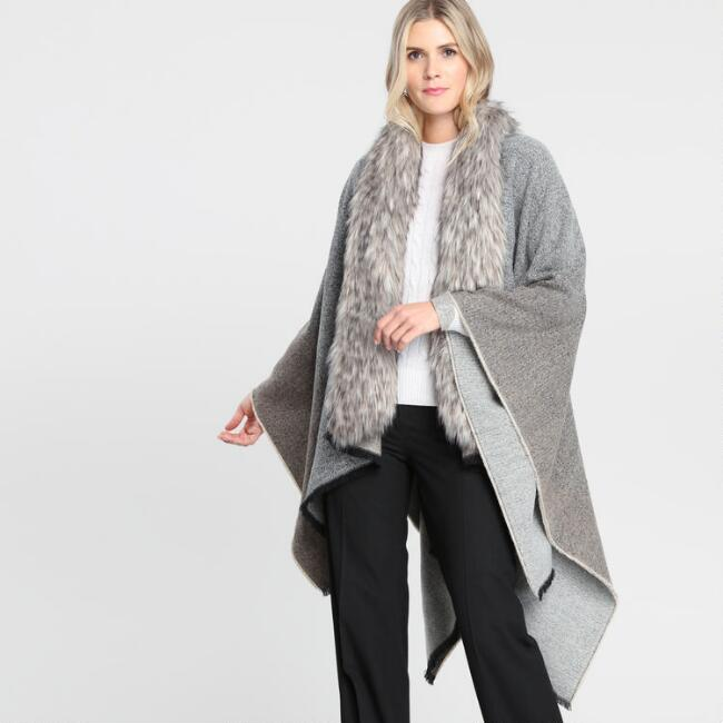 Black and Tan Marled Gayle Wrap with Faux Fur Collar