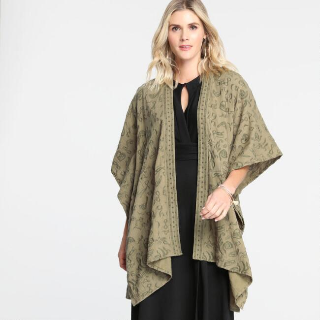 Olive Green Embroidered Alana Open Front Kimono