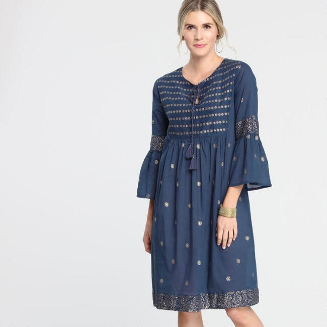 Navy and Gold Laurice Dress