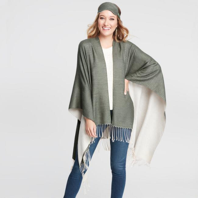 Olive and Tan Travel Wrap 3 Piece Gift Set