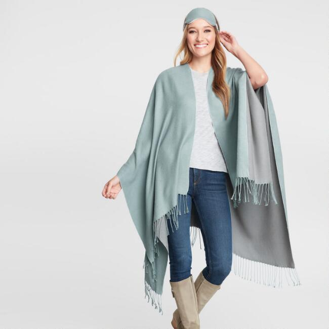 Sky Blue and Gray Travel Wrap 3 Piece Gift Set