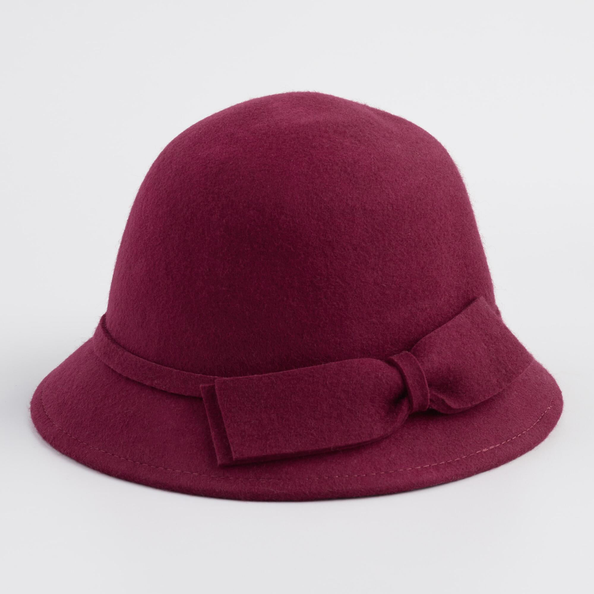 1930s Style Hats | Buy 30s Ladies Hats Wine Red Wool Cloche Hat by World Market $19.99 AT vintagedancer.com