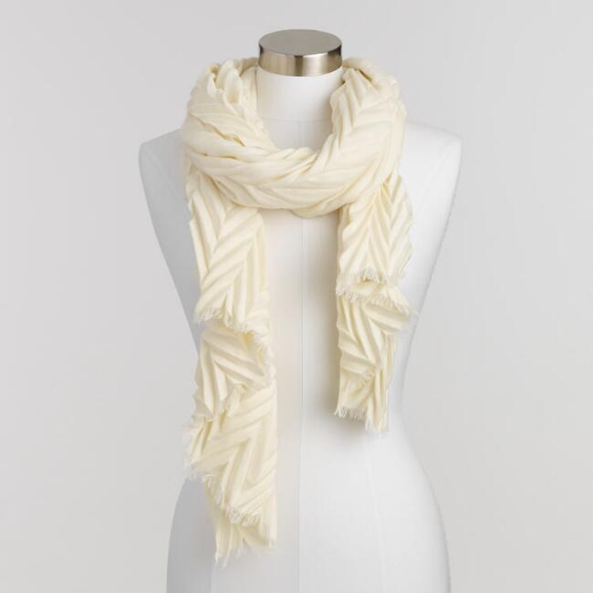Ivory Chevron Pleated Scarf