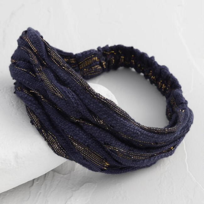 Navy And Gold Textured Wide Headband