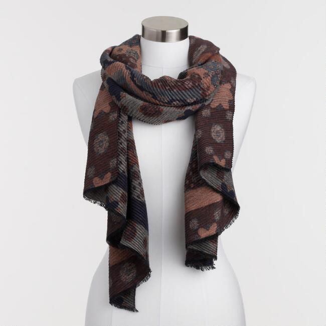 Geometric Warm Pleated Reversible Scarf