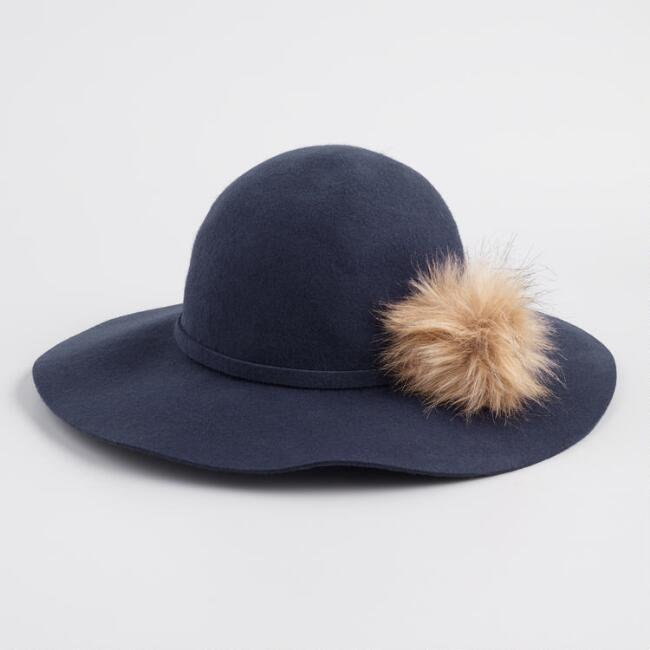 Navy Blue Wool and Faux Fur Pom Floppy Hat