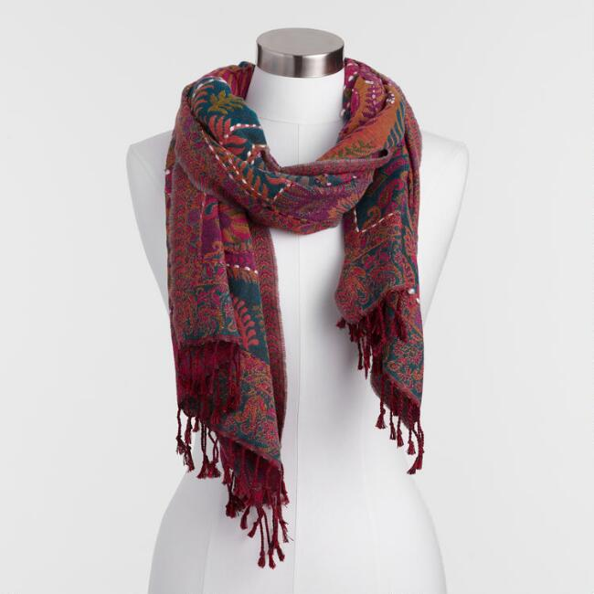 Oversized Multicolored Jacquard Blanket Scarf