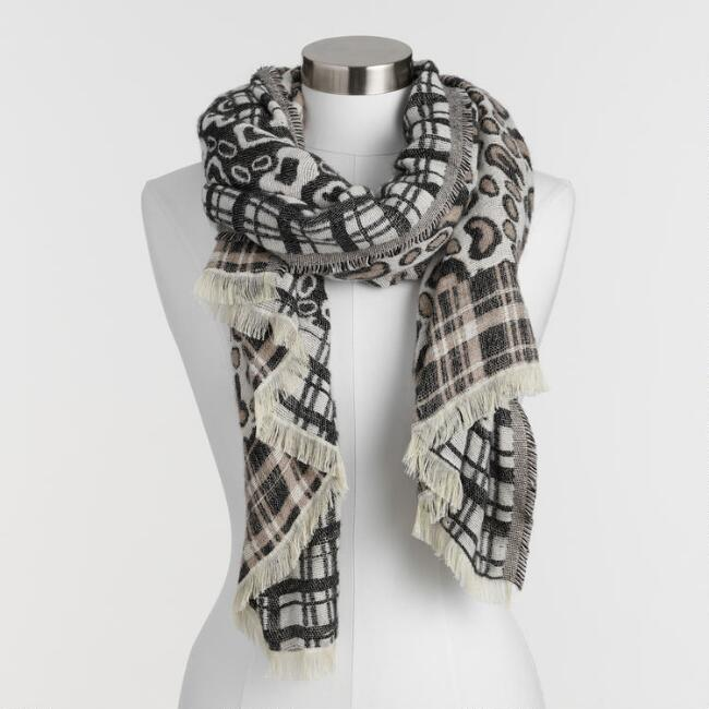 Neutral Leopard Print and Plaid Blanket Scarf