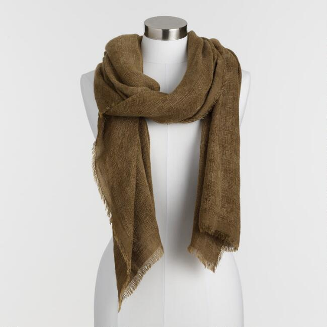 Oversized Olive Green Crosshatch Scarf
