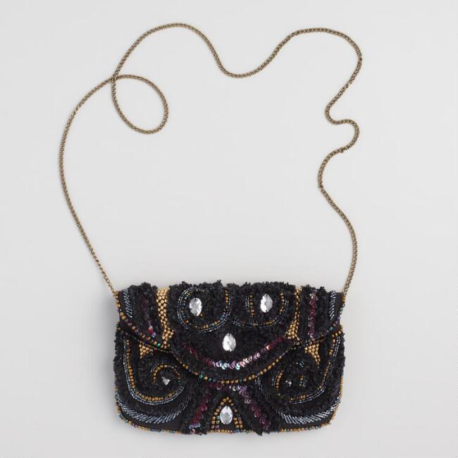 Black Embroidered Gatsby Clutch