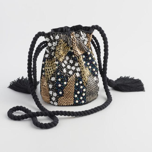 Black Embellished Crossbody Bucket Bag