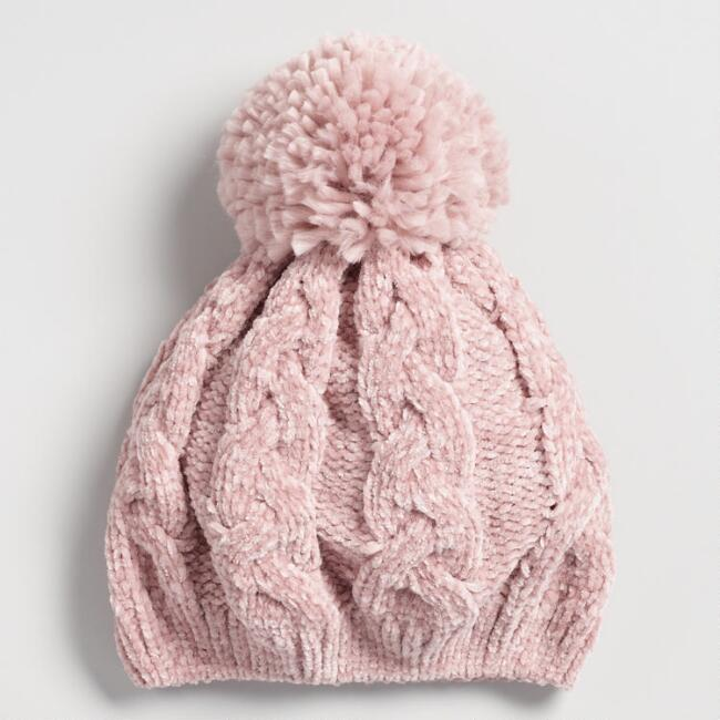 Blush Chenille Beret with Pom