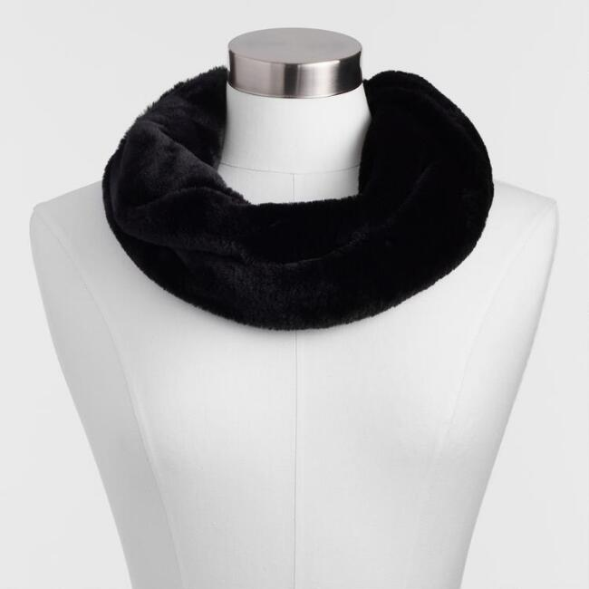 Deep Black Faux Fur Snood Scarf
