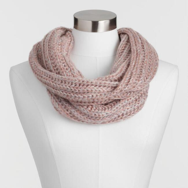 Blush And Gray Infinity Scarf