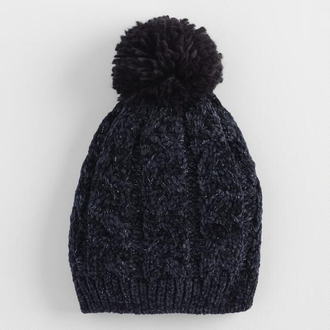 Black Cable Knit Beanie with Pom  4c1263c7a88