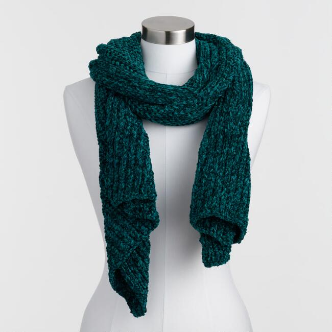Dark Teal Chunky Knit Chenille Scarf