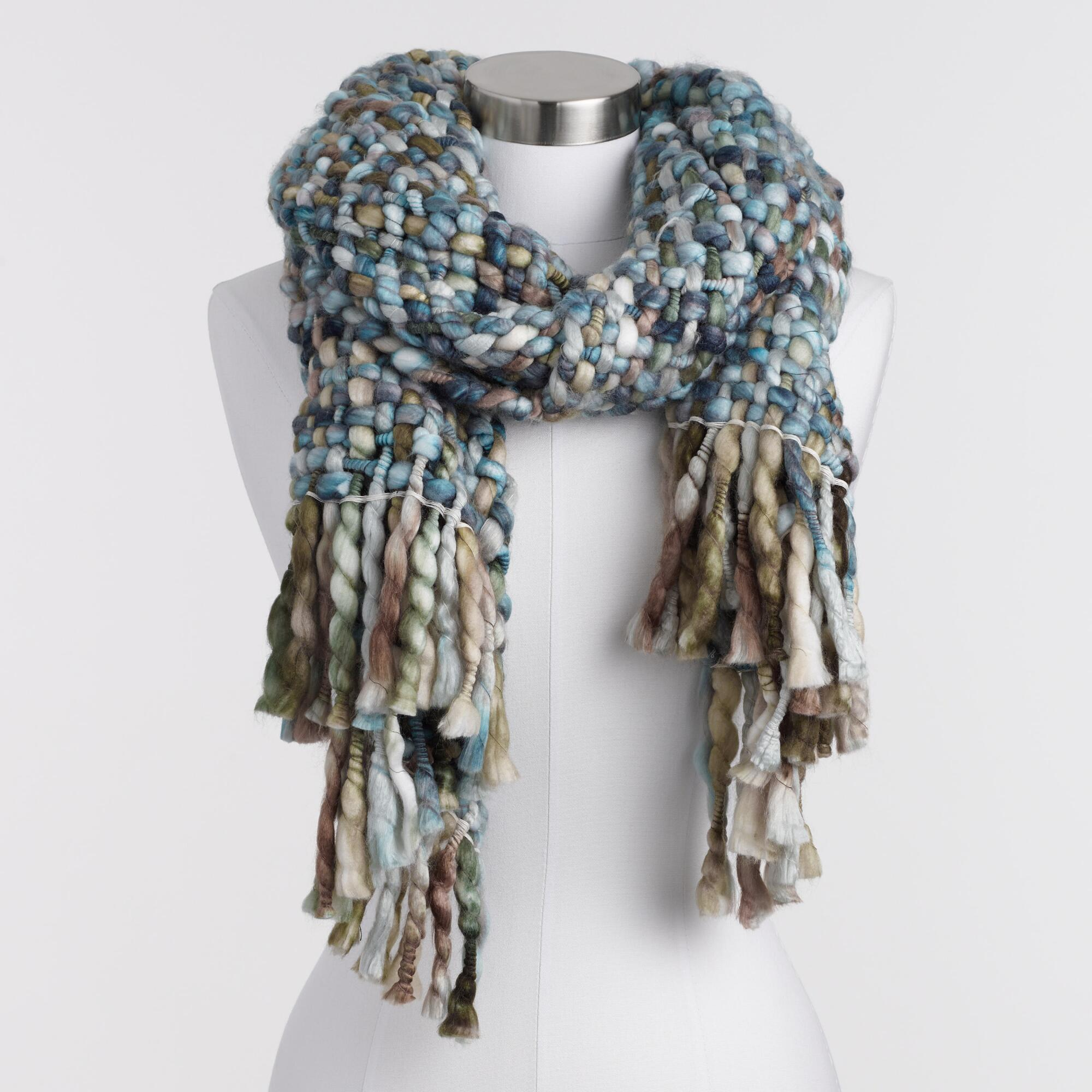 Cool Blues Chunky Woven Scarf by World Market