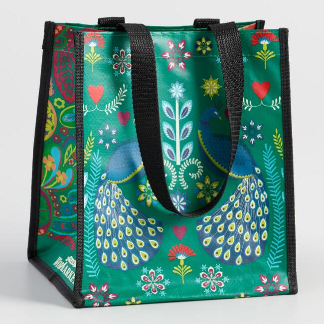 Small Green Peacock Paisley Tote Bags Set Of 2