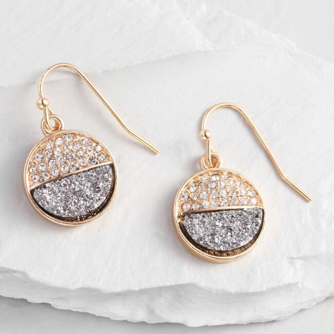 Gold Hematite Pave Circle Drop Earrings