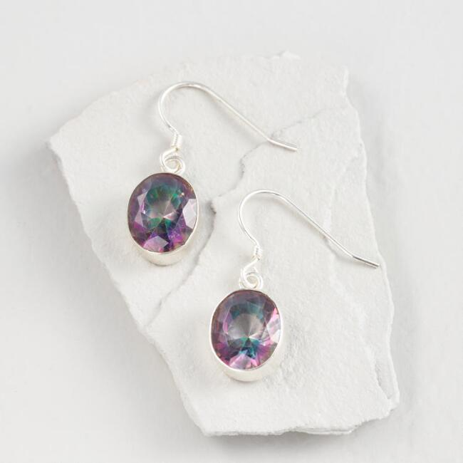 Silver Mystic Topaz Drop Earrings