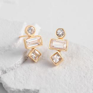 Triple Tier Shapes Cubic Zirconia Stud Earrings