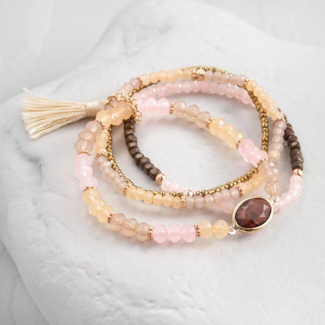 Blush And Bronze Beaded Stretch Bracelets Set Of 4