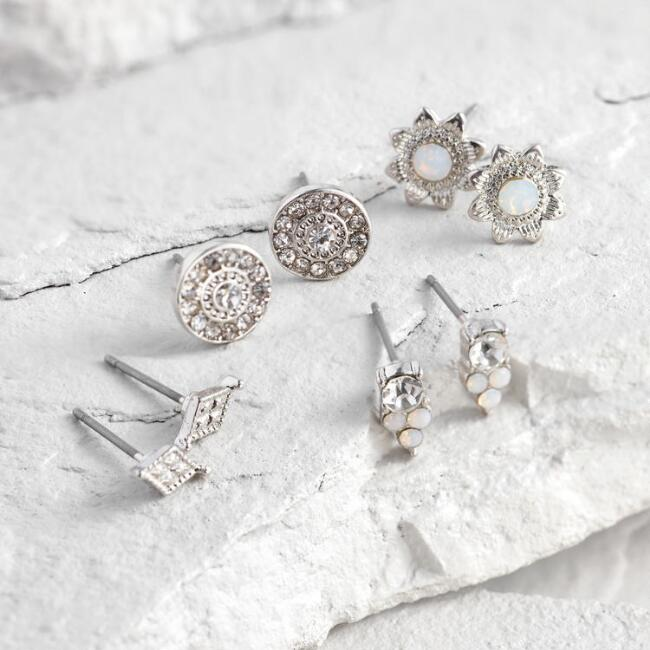 Silver Post Earring 4 Piece Gift Set in Vial