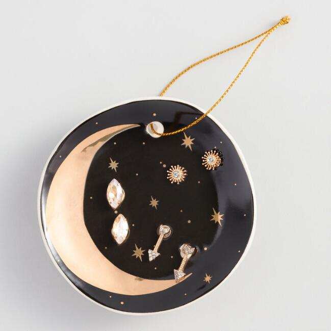 Crescent Moon Dish and Earrings Gift Set