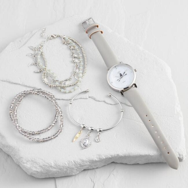 Gray Arrow Watch And Bracelet Gift Set