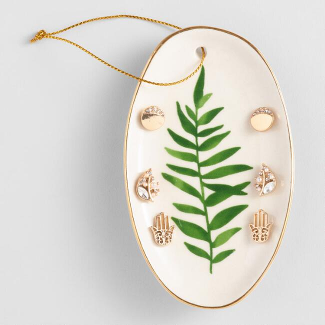 Leaf Dish and Earrings Gift Set