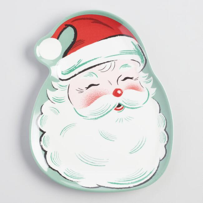 Retro Santa Shaped Melamine Plates Set of 4