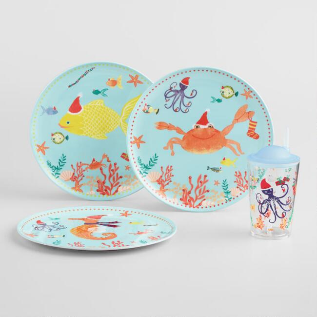Holiday Sea Creatures Melamine Dinnerware Collection