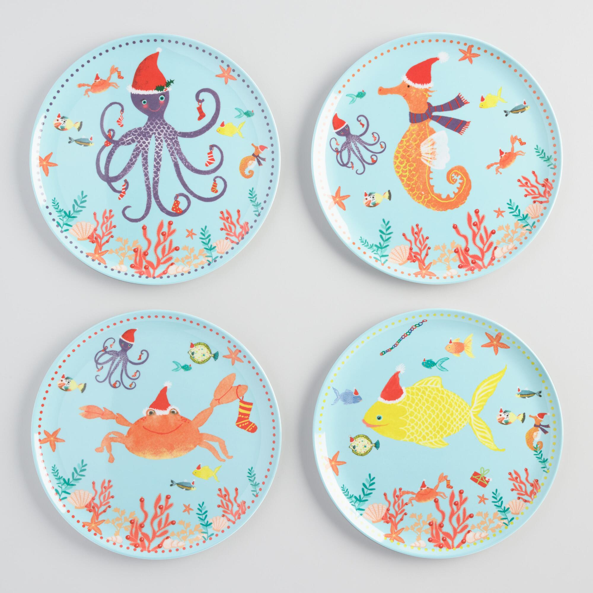 Holiday Sea Creatures Melamine Dinner Plates Set of 4 by World Market