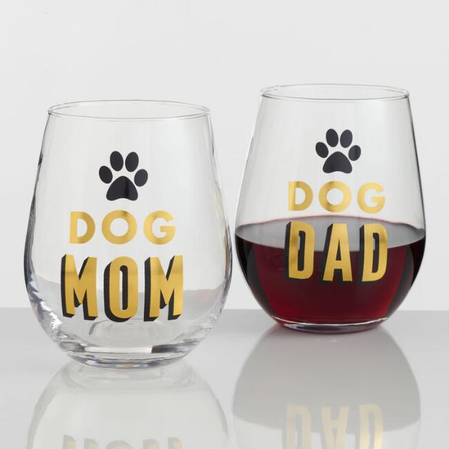 Dog Mom and Dad Stemless Wine Glasses Set of 2