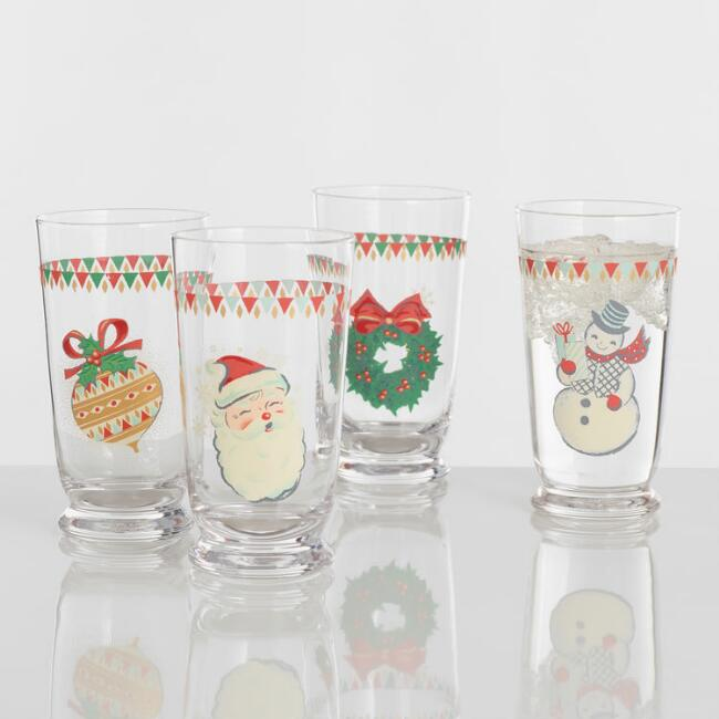 Retro Holiday Icon Tumblers 4 Pack
