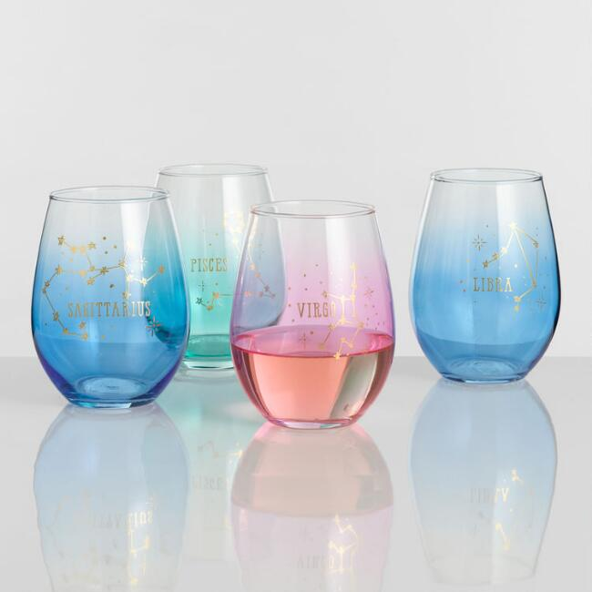 Pastel Ombre Zodiac Sign Stemless Wine Glass