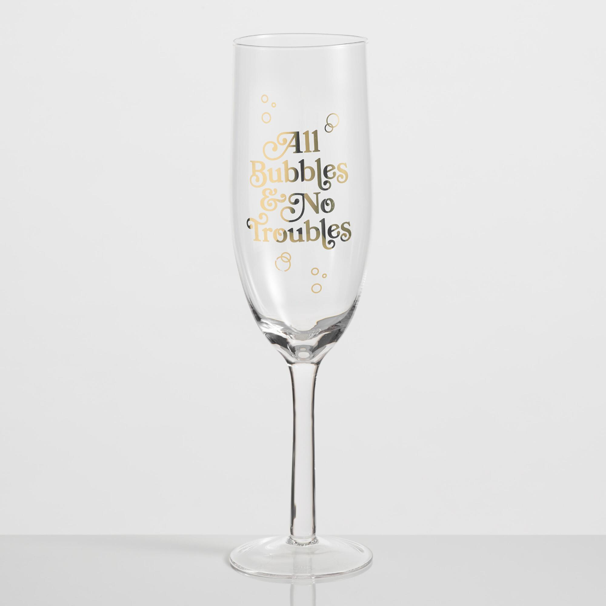 Extra Large All Bubbles No Troubles Champagne Flute by World Market