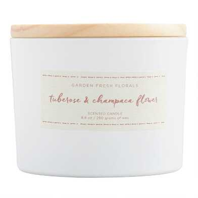Tuberose & Champaca Flower Floral Lid Scented Candle