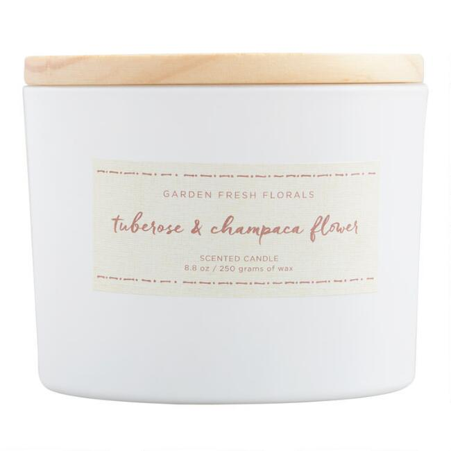 Tuberose and Champaca Flower Floral Lid Jar Candle